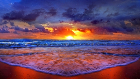 Sunset Over The Beach - Beaches & Nature Background Wallpapers on ...
