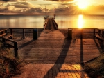 lovely wharf in a beautiful sunset