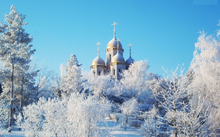 Church in Winter Wonderland - building, snow, ice, nature, trees