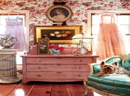 My Sanctuary 2560x1900 - relax, bedroom, french country, dresser, toile, shabby, puppy, dog, vintage