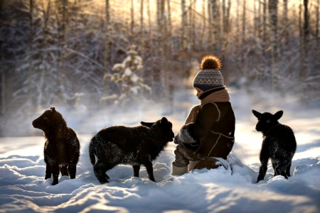 ♥ - forest, pure love, woods, sunset, winter time, snowy, winter splendor, winter, boy, splendor, snow, love, nature, child