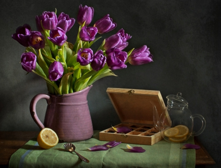 Still Life - purple tulips, still life, photography, flowers, vase, nature, tulips, lemon