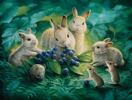 BLUEBERRY LUNCH - BLUE, BABY, BUNNIES, MOUSE, TIME, BERRIES, LUNCH