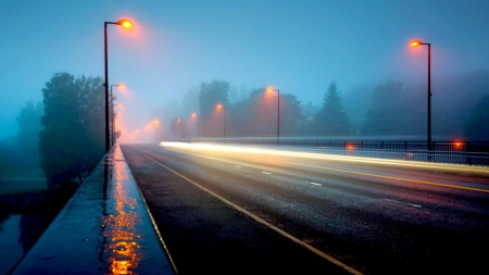 a highway bridge in a foggy rainy night - highway, bridge, rain, lights, fog, night