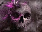 Grey Skull with Flower