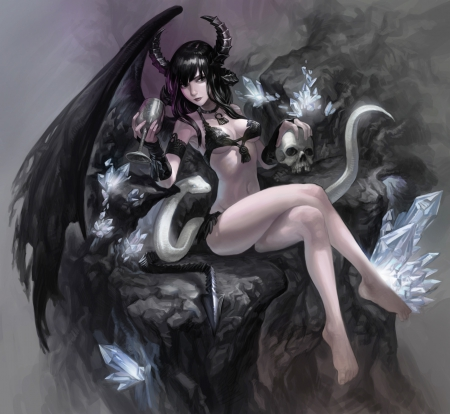 Throne of Succubus - pretty, beautiful, woman, succubus, throne, anime, darkness, grey, beauty, art, female, lovely, black, skulls, flames, girl, dark, white