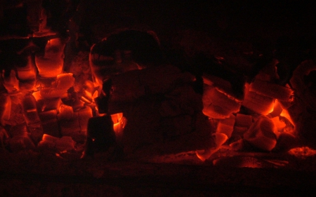 Coals - inferno, coals, glow, orange, hell, heat, fire, fireplace, flame