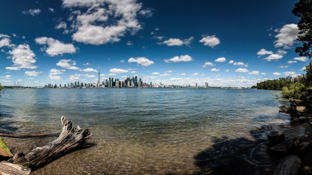 distant view of toranto across a lake - driftwood, city, scape, clouds, sky, lake