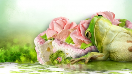 Too Much Cake Cake Spring Pond Frog Water Whimsical