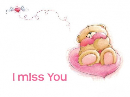 I Miss You - Pink, Love, Heart, Bear