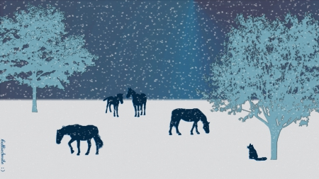 It's Snowing Today... - kitty, co11ie, silhouettes, trees, cat, horse, fe1ines, silhouette, snowy, horses, winter, cold, snow, co1d, pasture, blue