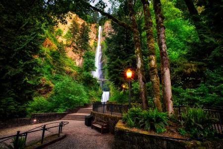 Multnomah falls oregon waterfalls nature background - Oregon nature wallpaper ...