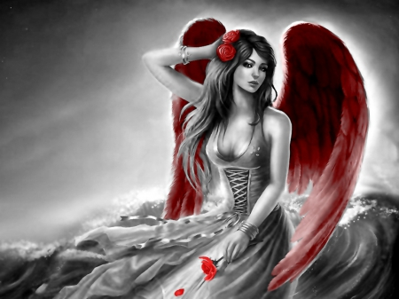 Angel with red Wings - beauty, red, wings, angel