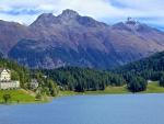 lake in beautiful st. moritz switzerland in summer