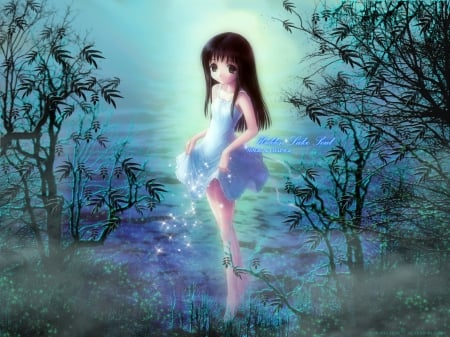 Pretty Hidden Lake Soul - smiling, brown eyes, lake, water, cute anime girl, barefoot, white dress, long hair, black hair, goto p