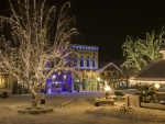town square during the winter holidays