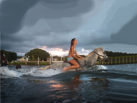 Cowgirl And Horse Swimming - female, fun, outdoors, women, bikini, horses, water, cowgirls, famous, girls, fashion, swimming, western, style