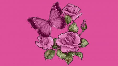 Pretty Purple Butterfly With Roses 3d And Cg Abstract Background