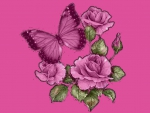 pretty purple butterfly with roses