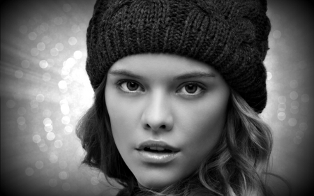 Nina Agdal - model, glitter, black, woman, winter, hat, girl, beauty, white, nina agdal