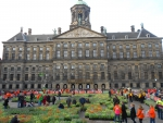 Royal Palace on National Tulip Day in Amsterdam