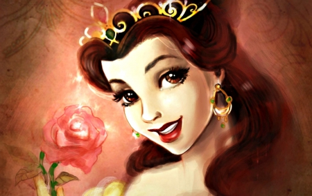 Belle - red, art, beauty and the beast, rose, belle, woman, fantasy, girl, flower, pink, disney