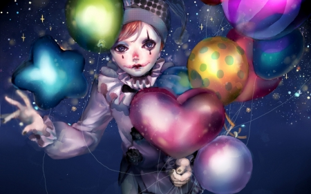 Clown - manga, valentine, clown, balloon, girl, green, anime, heart, day, pink, blue