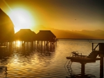 Bora Bora Sunset - water bungalows