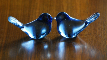 blue birdies - glass, art, deco, bird