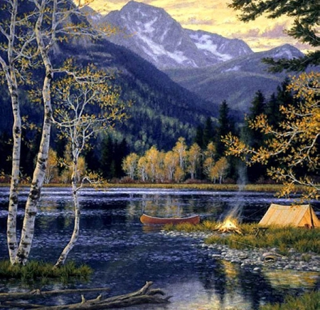 AMAZING NATURE by painter Randy Van Beek. - mountans, nature, lake, camping