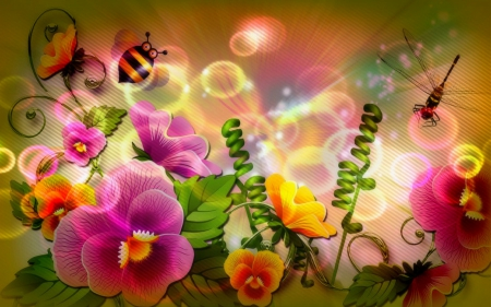 ♥.Glamor of Pollens.♥ - colorful, scents, attractions in dreams, beautiful, digital art, sweet, bright, flowers, pollen, vector arts, animals, nectar, lovely, glowing, creative pre-made, bee, dragonflies, beloved valentines, glamor