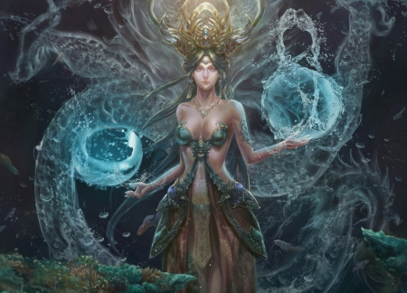 Water Sorceress - Sorceress, water, magic, Fantasy