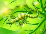 GREEN AND YELLOW LIZARD