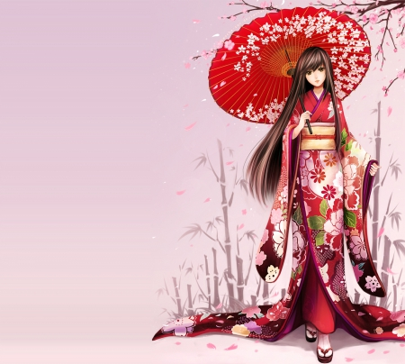 Red Kimono Other Anime Background Wallpapers On Desktop