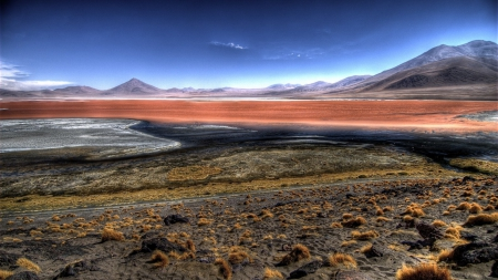 the steppes in bolivia before the andes hdr - brushes, mountains, steppes, prairies, hdr, sky
