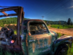 abandoned truck by the side of a farm road hdr