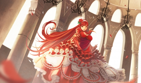 Mrs. Red - pretty, dress, game, beautiful, mrs red, sweet, nice, fantasy, anime, flowers, beauty, anime girl, room, beauyt, long hair, snile, game cg, female, smile, red hair, roses, cute, cool, awesome, dance, petals, castle, red eyes