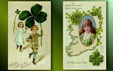 Victorian St. Patrick's Day Postcards F1 - art, Saint Patricks Day, holiday, painting, wide screen, occasion, illustration, artwork