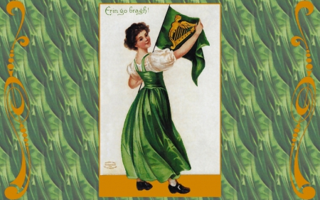 Erin Go Bragh 1 - art, Saint Patricks Day, holiday, Irish, illustration, artwork, painting, wide screen, occasion, lady
