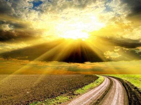 Sunrise - nature, sunrise, sky, road