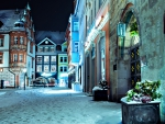 german town at night in winter