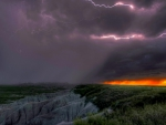 aggressive lightning storm over badlands