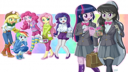 twilight sparkle - rarity, rainbow dash, angel, pinkie pie, mlp, octavia, fluttershy, apple jack, bunny, twilight sparkle