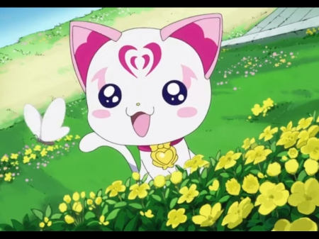 Hummy - scenic, hummy, sweet, nice, pretty cure, butterfly, anime, scenery, lovely, smile, happy, cute, kawaii, precure, flower, suite precure, petals, scene, field