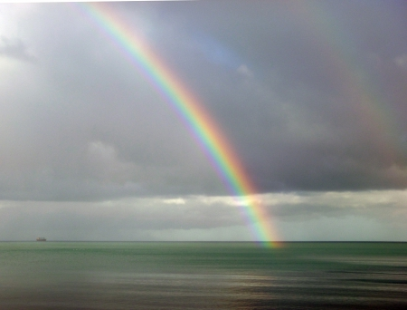Rainbow at Oddicombe. - beach, sky, sea, rainbow, clouds, nature