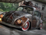 a well rusted vintage vw beetle
