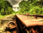 view of rusted abandoned rail tracks hdr