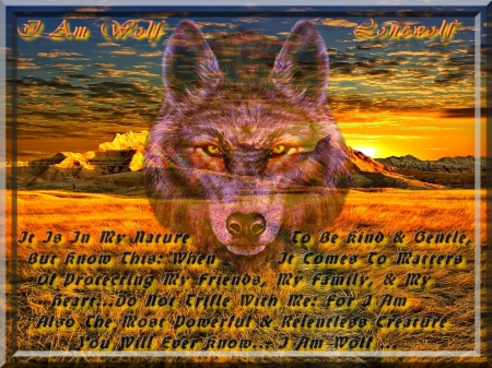I Am Wolf - scenic, defender, companion, devotion, loyal, plains, sunset, mate, mountain, devoted, loyalty, werewolf, sunrise, pack, protector, honor, vista, prairie, wolf