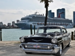 classic black chevrolet on miami waterfront