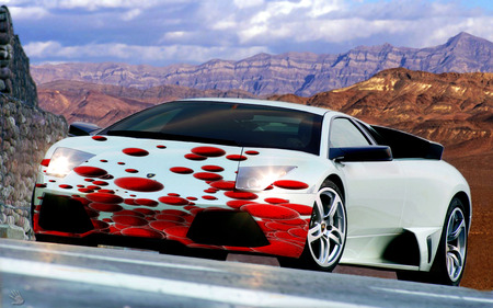 Salmon Eggs 011 - murcielago, lights on, red  and  white, lamborghini, entropy